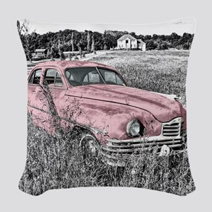 vintage pink car Woven Throw Pillow