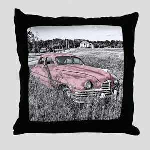 vintage pink car Throw Pillow