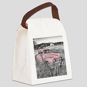 vintage pink car Canvas Lunch Bag