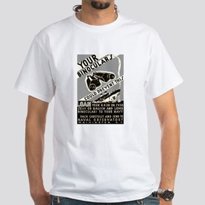 BINOCULAR LOAN white t-shirt