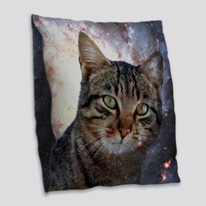 SpaceCat Burlap Throw Pillow