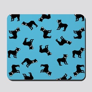 Boston Terriers on Blue Mousepad
