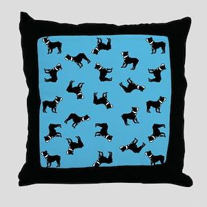 Boston Terriers on Blue Throw Pillow