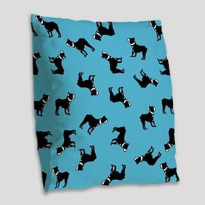 Boston Terriers On Blue Burlap Throw Pillow