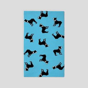 Boston Terriers on Blue Area Rug