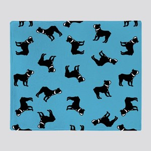 Boston Terriers on Blue Throw Blanket