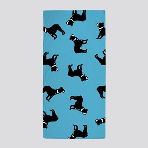 Boston Terriers on Blue Beach Towel
