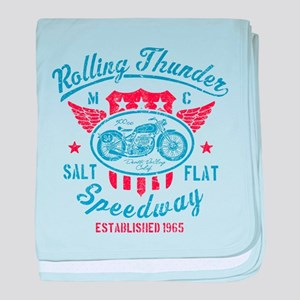 Rolling Thunder Vintage Motorcycle Gr baby blanket
