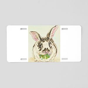 Black and White Rabbit Aluminum License Plate