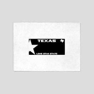 TX - Lone star - BLACK blank licens 5'x7'Area Rug
