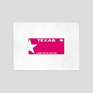 Texas - Lone star - PINK blank plat 5'x7'Area Rug
