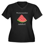 Watermelon A Women's Plus Size V-Neck Dark T-Shirt