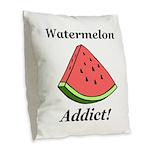 Watermelon Addict Burlap Throw Pillow