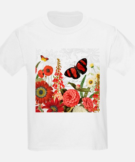 Modern vintage red flowers and butterfly T-Shirt