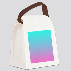pink turquoise ombre Canvas Lunch Bag
