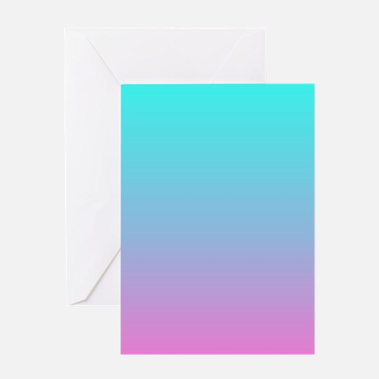 pink turquoise ombre Greeting Cards