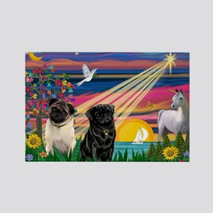 Pug Magical Night Rectangle Magnet