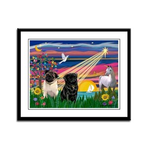 Pug Magical Night Framed Panel Print