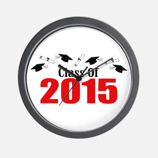 Class Of 2015 (Red Caps And Diplomas) Wall Clock