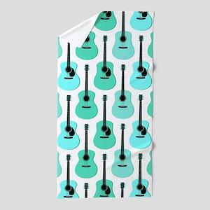 Blue Acoustic Guitars Pattern Beach Towel