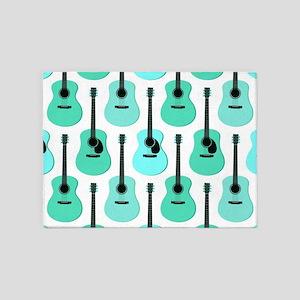 Blue Acoustic Guitars Pattern 5'x7'Area Rug