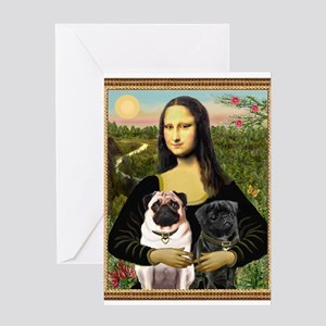 Mona & her 2 Pugs Greeting Card