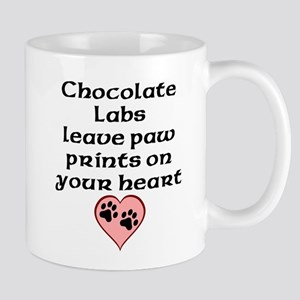 Chocolate Labs Leave Paw Prints On Your Heart Mugs