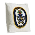 USS GARY Burlap Throw Pillow