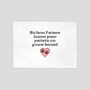 Bichon Frises Leave Paw Prints On Your Heart 5'x7'
