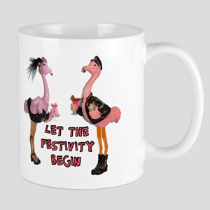 Partying Flamingo Couple Mugs