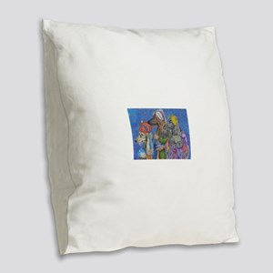We Three Kings Burlap Throw Pillow