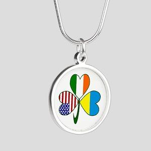 Shamrock of Ukraine Silver Round Necklace