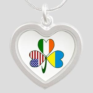 Shamrock of Ukraine Silver Heart Necklace