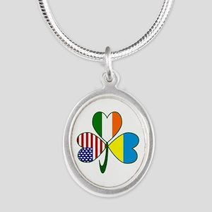 Shamrock of Ukraine Silver Oval Necklace