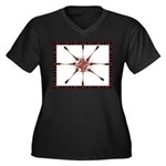 Pin Wheel Women's Plus Size V-Neck Dark T-Shirt