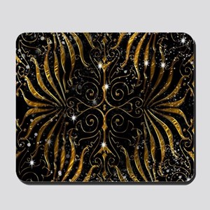 Black and Gold Victorian Sparkle Mousepad