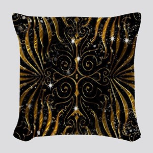 Black and Gold Victorian Spark Woven Throw Pillow