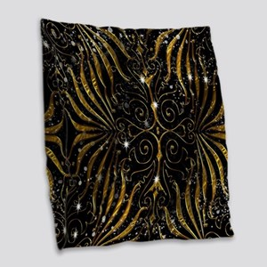 Black and Gold Victorian Spark Burlap Throw Pillow