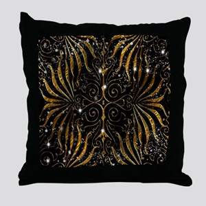 Black and Gold Victorian Sparkle Throw Pillow