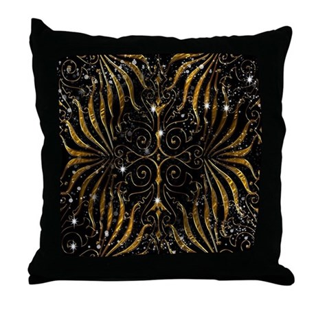Black and Gold Victorian Sparkle Throw Pillow by listing-store-36431776