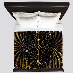 Black and Gold Victorian Sparkle King Duvet