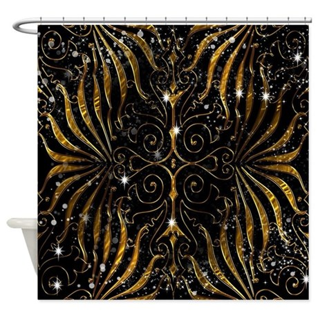 Superieur Black And Gold Victorian Sparkle Shower Curtain
