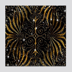 Black and Gold Victorian Sparkle Tile Coaster