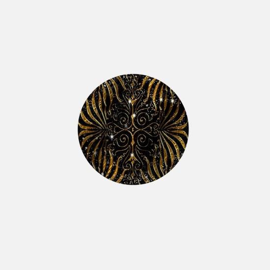Black and Gold Victorian Sparkle Mini Button