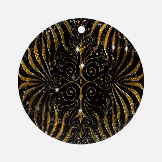 Black and Gold Victorian Sparkle Round Ornament