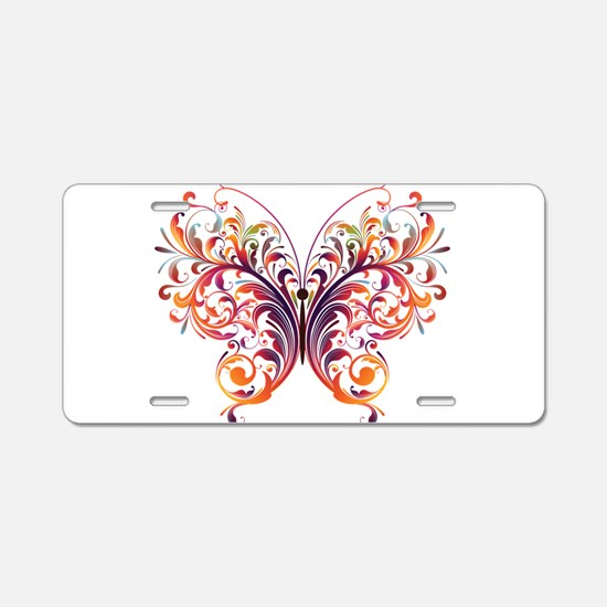 Scroll Butterfly Aluminum License Plate