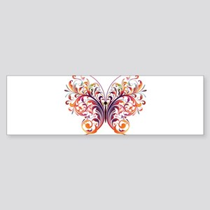 Scroll Butterfly Bumper Sticker