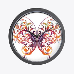 Scroll Butterfly Wall Clock