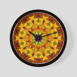 Yellow Kaleidoscope Wall Clock
