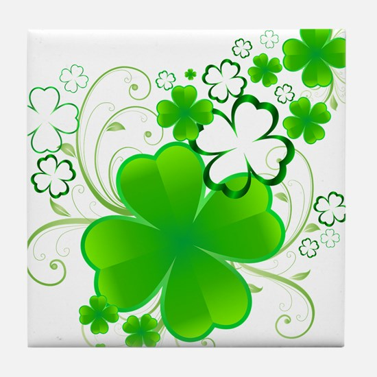 Clovers and Swirls Tile Coaster
